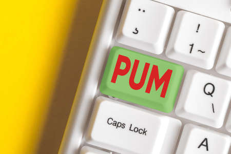 Writing note showing Pum. Business concept for unwanted change that can be performed by legitimate applications Colored keyboard key with accessories arranged on empty copy space