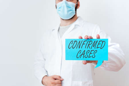 Text sign showing Confirmed Cases. Business photo text set of circumstances or conditions requiring action Laboratory Technician Featuring Empty Sticker Paper Accessories Smartphone