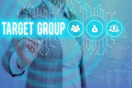 Word writing text Target Group. Business photo showcasing Particular showing that an advertisement intended to reach to System administrator control, gear configuration settings tools concept Stockfoto