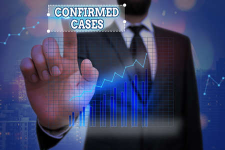 Word writing text Confirmed Cases. Business photo showcasing set of circumstances or conditions requiring action Arrow symbol going upward denoting points showing significant achievement