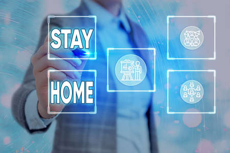 Conceptual hand writing showing Stay Home. Concept meaning not go out for an activity and stay inside the house or home Grids and different icons latest digital technology concept