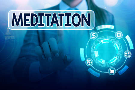 Word writing text Meditation. Business photo showcasing achieve a mentally clear and emotionally calm and stable state Information digital technology network connection infographic elements icon