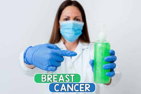 Word writing text Breast Cancer. Business photo showcasing disease in which cells in the grow out of control Laboratory blood test sample shown for medical diagnostic analysis result