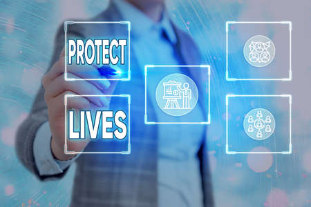 Conceptual hand writing showing Protect Lives. Concept meaning to cover or shield from exposure injury damage or destruction Grids and different icons latest digital technology concept
