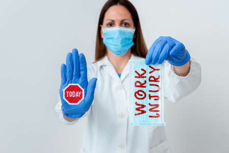 Word writing text Work Injury. Business photo showcasing Accident in job Danger Unsecure conditions Hurt Trauma Laboratory blood test sample shown for medical diagnostic analysis result