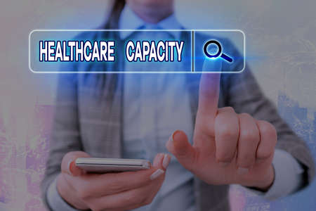 Writing note showing Healthcare Capacity. Business concept for maximum amount of patients provided with the right medical service Web search digital information futuristic technology network connection