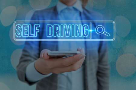 Text sign showing Self Driving. Business photo showcasing Autonomous vehicle Ability to navigate without input Web search digital information futuristic technology network connection