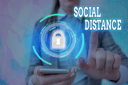 Text sign showing Social Distance. Business photo text degree of acceptance of general interaction of individuals Graphics padlock for web data information security application system