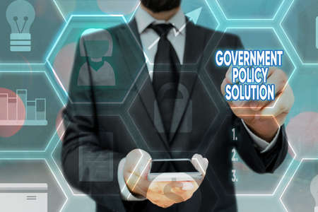 Writing note showing Government Policy Solution. Business concept for designed game plan created in response to emergency disaster Grids and different icons latest digital technology concept Stok Fotoğraf