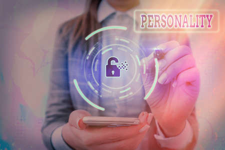 Conceptual hand writing showing Personality. Concept meaning the condition or fact of relating to a particular an individual Graphics padlock for web data security application system
