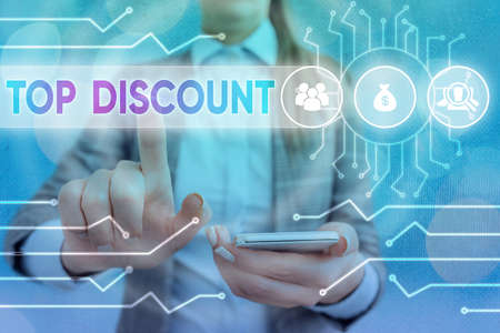 Handwriting text writing Top Discount. Conceptual photo Best Price Guaranteed Hot Items Crazy Sale Promotions System administrator control, gear configuration settings tools concept