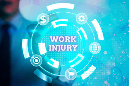 Writing note showing Work Injury. Business concept for Accident in job Danger Unsecure conditions Hurt Trauma Information digital technology network infographic elements
