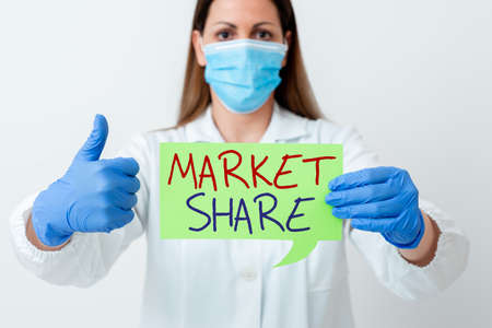 Word writing text Market Share. Business photo showcasing The portion of a market controlled by a particular company Laboratory technician featuring empty sticker paper accessories smartphone