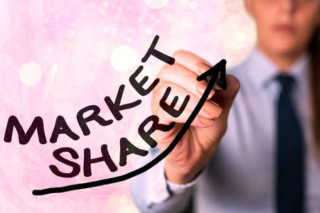 Writing note showing Market Share. Business concept for The portion of a market controlled by a particular company Digital arrowhead curve denoting growth development concept