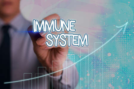 Conceptual hand writing showing Immune System. Concept meaning Complex network work together to defend against germs Arrow symbol going upward showing significant achievement