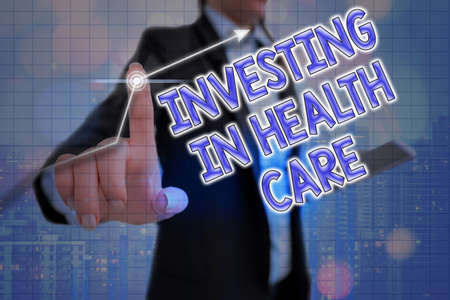 Handwriting text Investing In Health Care. Conceptual photo put money on maintenance or improvement of health Arrow symbol going upward denoting points showing significant achievement