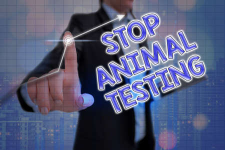 Handwriting text Stop Animal Testing. Conceptual photo put an end on animal experimentation or research Arrow symbol going upward denoting points showing significant achievement