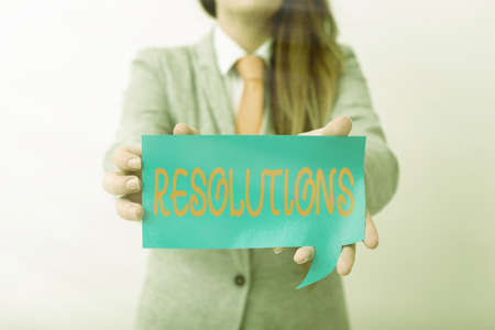 Writing note showing Resolutions. Business concept for the act of analyzing a complex notion into simpler ones Displaying different color mock up notes for emphasizing content