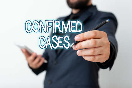 Text sign showing Confirmed Cases. Business photo text set of circumstances or conditions requiring action Model displaying different shots of holding pen ready for promotional use Reklamní fotografie