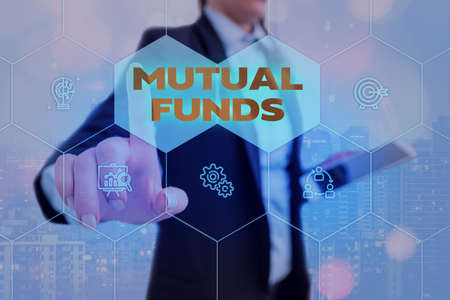 Text sign showing Mutual Funds. Business photo showcasing An investment program funded by shareholders Individual Stocks Grids and different set up of the icons latest digital technology concept