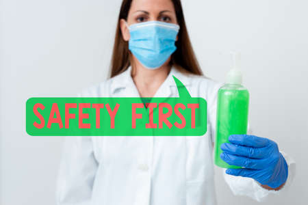 Word writing text Safety First. Business photo showcasing Avoid any unnecessary risk Live Safely Be Careful Pay attention Laboratory blood test sample shown for medical diagnostic analysis result