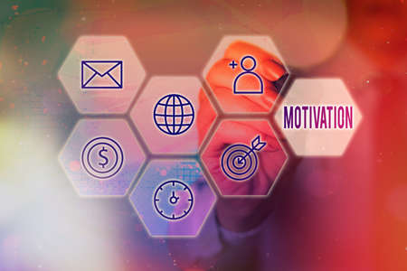 Conceptual hand writing showing Motivation. Concept meaning the general desire or willingness of someone to do something Grids and different icons latest digital technology concept