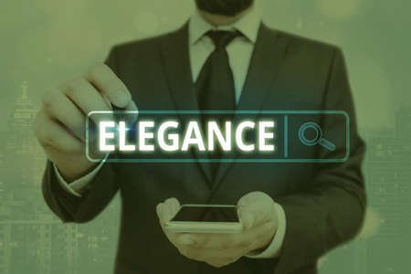 Word writing text Elegance. Business photo showcasing scientific precision, neatness, and simplicity of something Web search digital information futuristic technology network connection Stock fotó