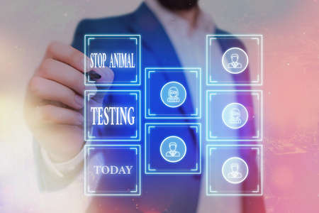 Writing note showing Stop Animal Testing. Business concept for put an end on animal experimentation or research Grids and different icons latest digital technology concept
