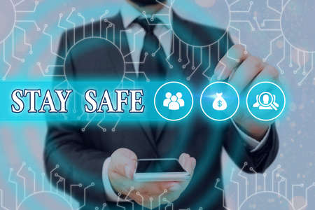 Handwriting text Stay Safe. Conceptual photo secure from threat of danger, harm or place to keep articles System administrator control, gear configuration settings tools concept Stock Photo