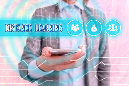 Conceptual hand writing showing Distance Learning. Concept meaning educational lectures broadcasted over the Internet remotely System administrator control, gear configuration settings Stockfoto
