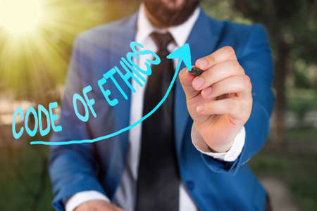 Conceptual handwriting showing Code Of Ethics. Concept meaning basic guide for professional conduct and imposes duties Digital arrowhead curve denoting growth development concept