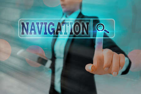 Conceptual handwriting showing Navigation. Concept meaning accurately ascertaining one is position planning following a route Web search digital futuristic technology network connection Foto de archivo