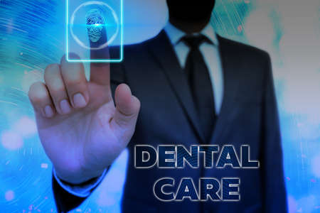 Conceptual handwriting showing Dental Care. Concept meaning maintenance of healthy teeth or to keep it clean for future Information digital technology network infographic elements