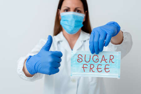 Word writing text Sugar Free. Business photo showcasing do not contain sugar and only have artificial sweetener instead Laboratory blood test sample shown for medical diagnostic analysis result