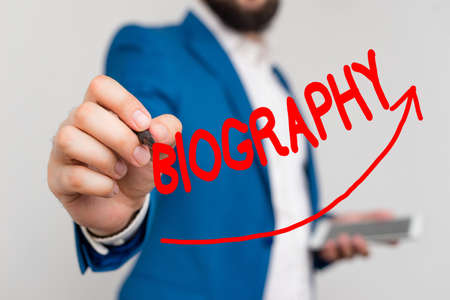 Writing note showing Biography. Business concept for an account of the life of something such as an animal, a coin, etc. Digital arrowhead curve denoting growth development concept