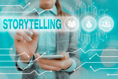 Text sign showing Storytelling. Business photo text relater of anecdotes, reciter of tales, writer of stories System administrator control, gear configuration settings tools concept Stockfoto