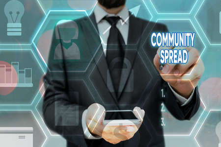 Writing note showing Community Spread. Business concept for dissemination of a highly contagious disease within the local area Grids and different icons latest digital technology concept