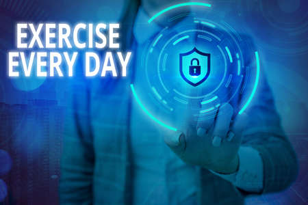 Conceptual hand writing showing Exercise Every Day. Concept meaning move body energetically in order to get fit and healthy Graphics padlock for web data security application system Banco de Imagens