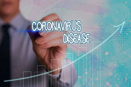 Conceptual hand writing showing Coronavirus Disease. Concept meaning defined as illness caused by a novel virus SARSCoV2 Arrow symbol going upward showing significant achievement