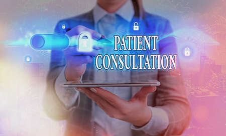 Handwriting text writing Patient Consultation. Conceptual photo examining discuss a patient and his or her condition Graphics padlock for web data information security application system