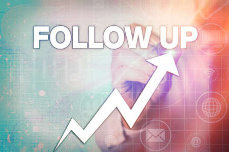 Writing note showing Follow Up. Business concept for a continuation of something that has already been started Arrow symbol going upward showing significant achievement