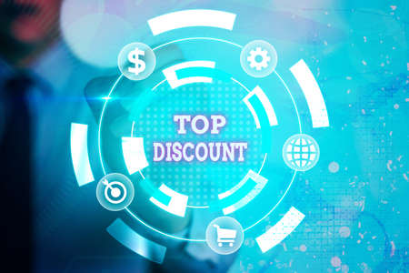 Writing note showing Top Discount. Business concept for Best Price Guaranteed Hot Items Crazy Sale Promotions Information digital technology network infographic elements
