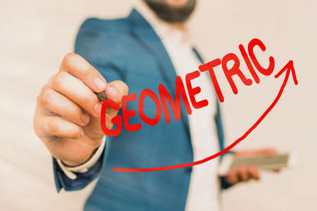 Writing note showing Geometric. Business concept for using straight or curved lines in designs and many more. Digital arrowhead curve denoting growth development concept