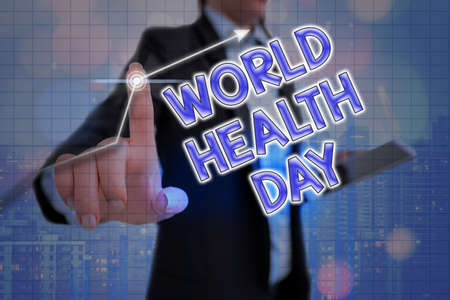 Handwriting text World Health Day. Conceptual photo global health awareness day celebrated every year on 7 April Arrow symbol going upward denoting points showing significant achievement Stok Fotoğraf