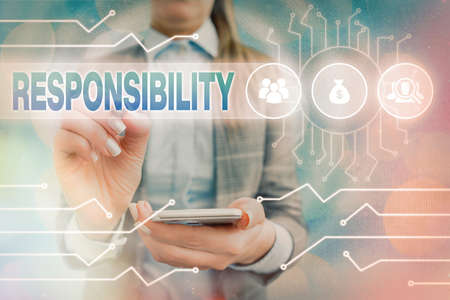 Text sign showing Responsibility. Business photo text state of being responsible, something for one is responsible System administrator control, gear configuration settings tools concept
