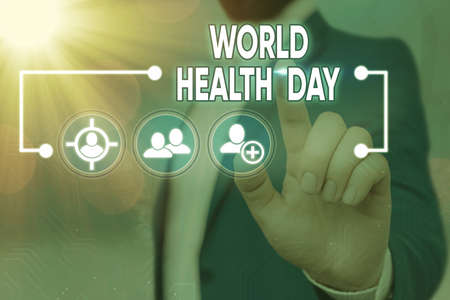 Handwriting text writing World Health Day. Conceptual photo global health awareness day celebrated every year on 7 April Information digital technology network connection infographic elements icon