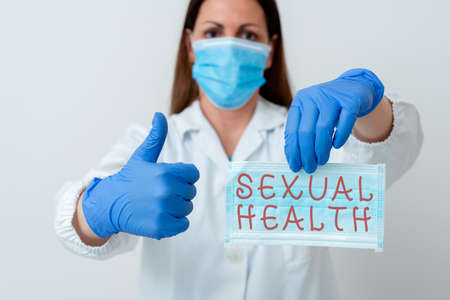 Word writing text Sexual Health. Business photo showcasing Ability to embrace and enjoy sexuality throughout our lives Laboratory blood test sample shown for medical diagnostic analysis result