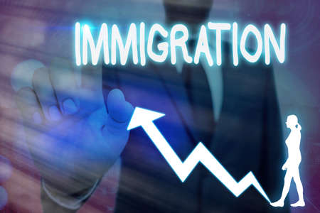 Conceptual hand writing showing Immigration. Concept meaning the action of coming to live permanently in a foreign country Arrow symbol going upward showing significant achievement
