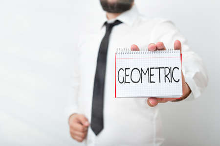 Handwriting text writing Geometric. Conceptual photo using straight or curved lines in designs and many more. Model displaying different empty color notepad mock-up for writing idea Stockfoto