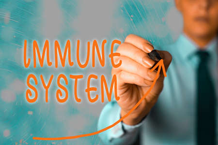 Handwriting text Immune System. Conceptual photo a bodily system that protects the body from foreign substances digital arrowhead curve rising upward denoting growth development concept Banco de Imagens